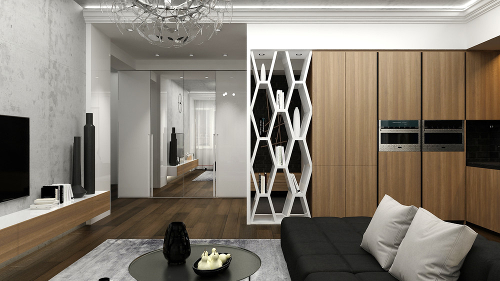 thiết kế nội thất phòng khách đẹp lung linh cho căn hộ 1 phòng ngủ