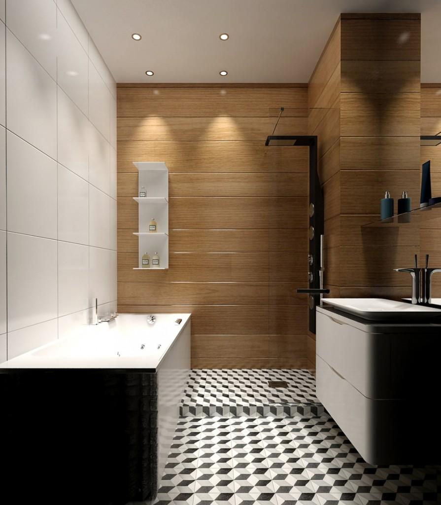 ý tưởng thiết kế nội thất phòng tắm đẹp lung linh cho căn hộ 1 phòng ngủ