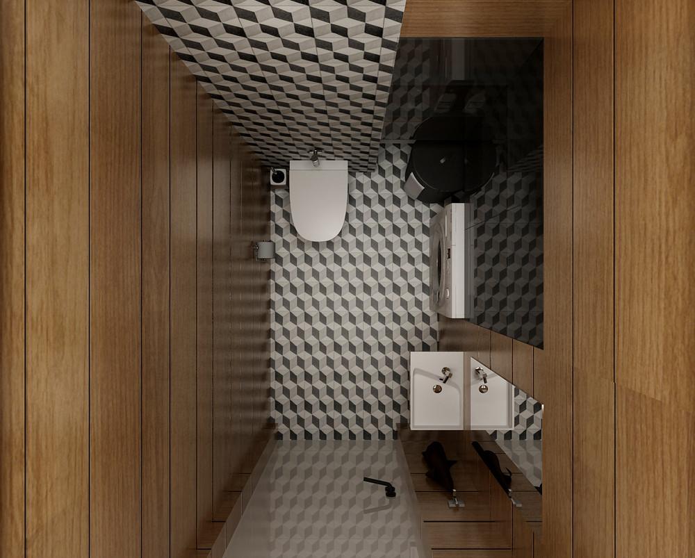 mẫu thiết kế nội thất phòng tắm đẹp lung linh cho căn hộ 1 phòng ngủ