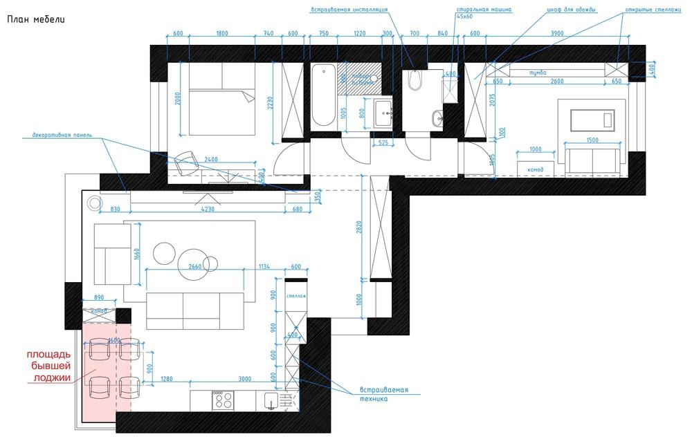 bản vẽ thiết kế nội thất đẹp cho căn hộ 1 phòng ngủ