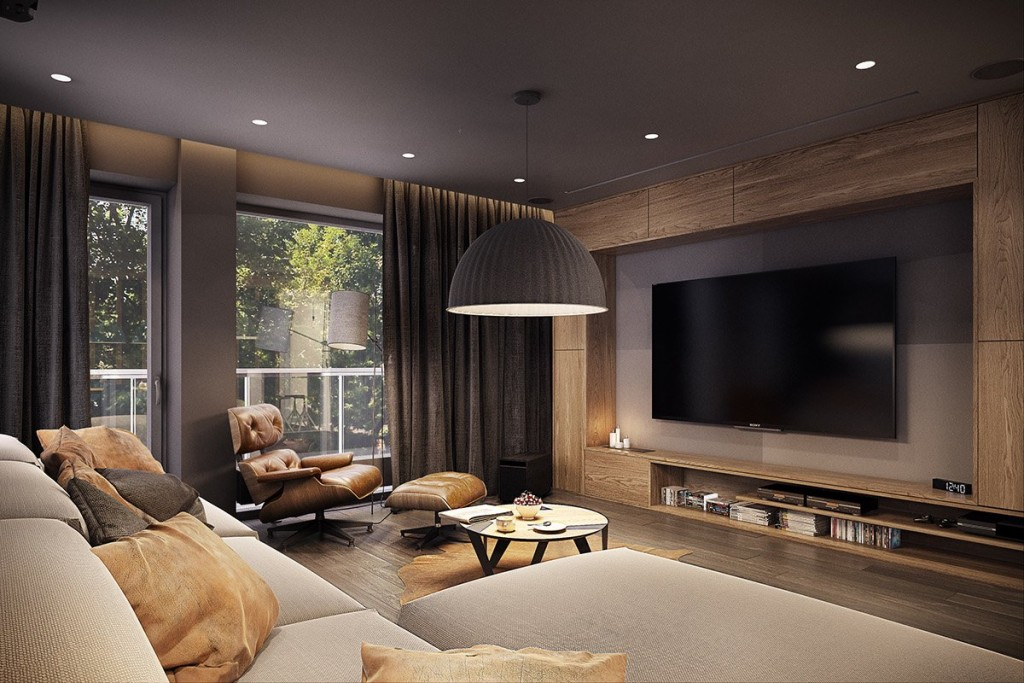 mẫu thiết kế nội thất phòng khách tương phản, hiện đại, sáng tạo và mạnh mẽ