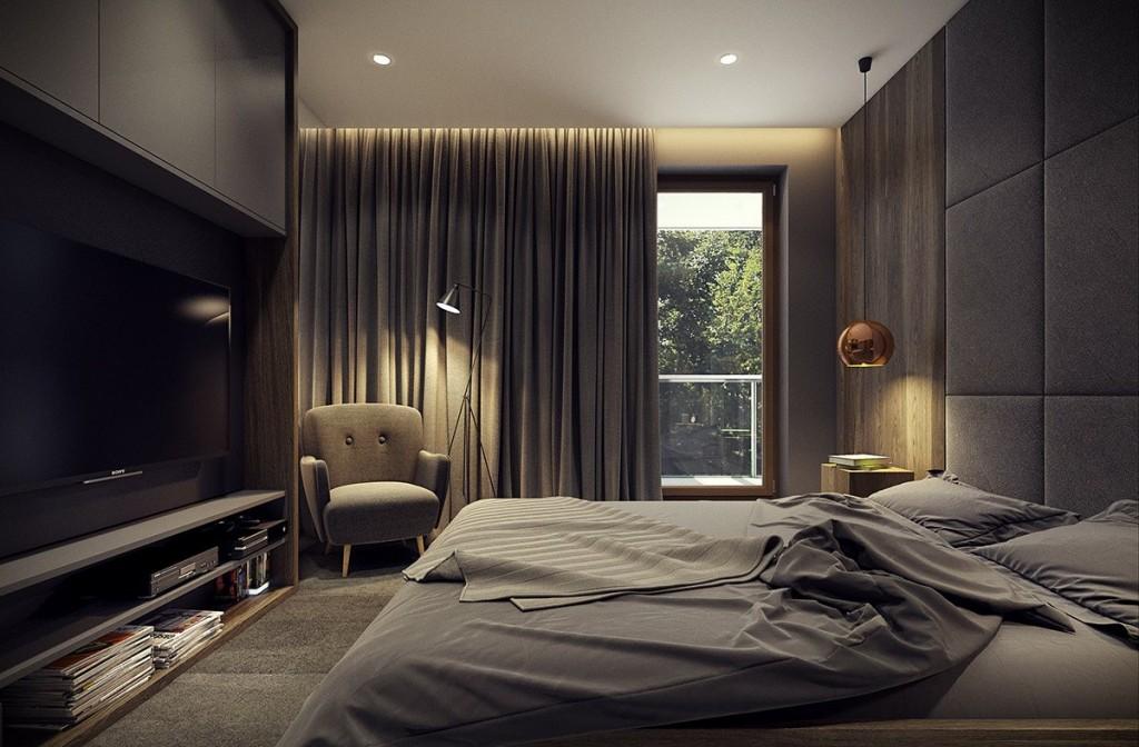 mẫu thiết kế nội thất phòng ngủ tương phản, hiện đại, sáng tạo và mạnh mẽ