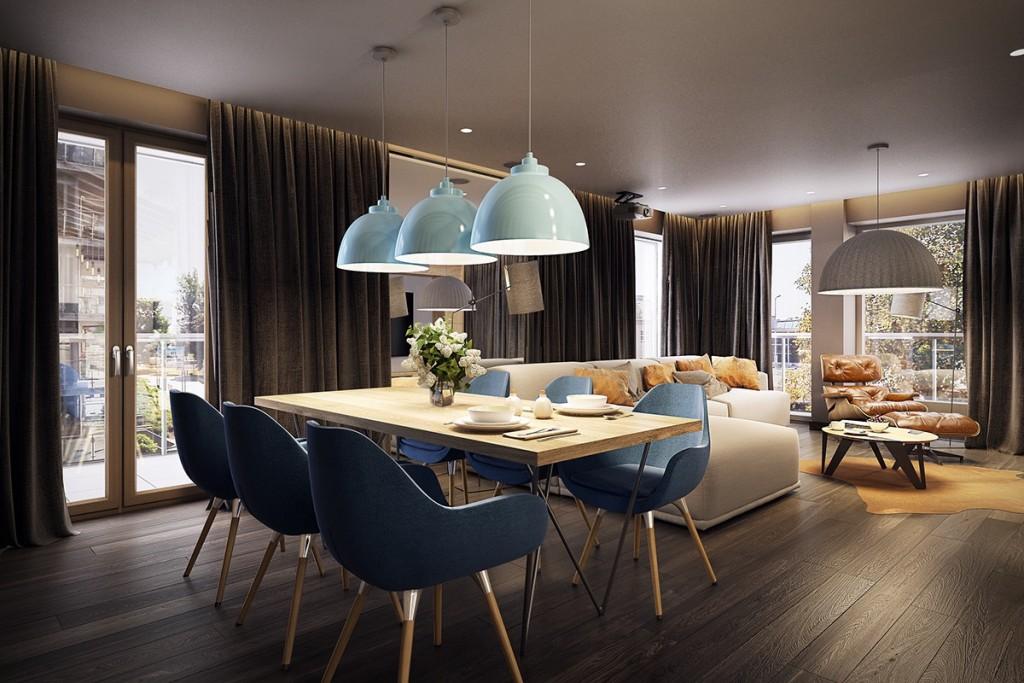 thiết kế nội thất phòng ăn tương phản, hiện đại, sáng tạo và mạnh mẽ