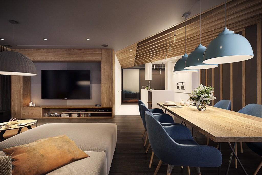 mẫu thiết kế nội thất phòng khách, phòng ăn tương phản, hiện đại, sáng tạo và mạnh mẽ