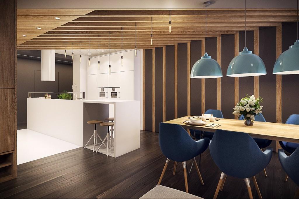 mẫu thiết kế nội thất phòng ăn tương phản, hiện đại, sáng tạo và mạnh mẽ