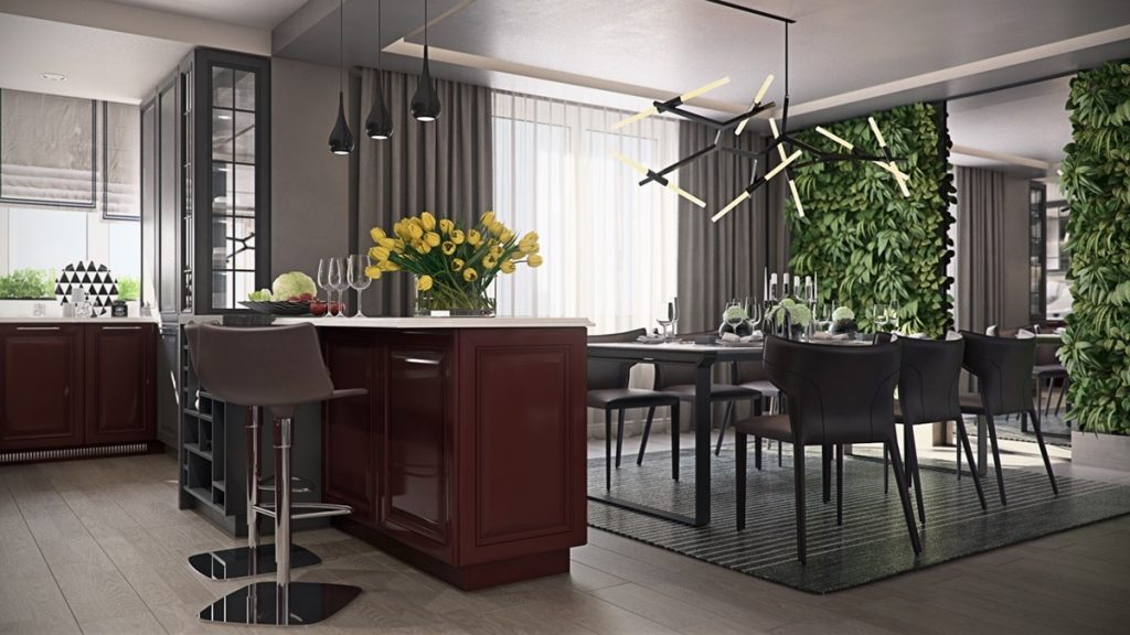 mẫu thiết kế nội thất phòng bếp cao cấp sang trọng cho căn hộ 3 phòng ngủ.