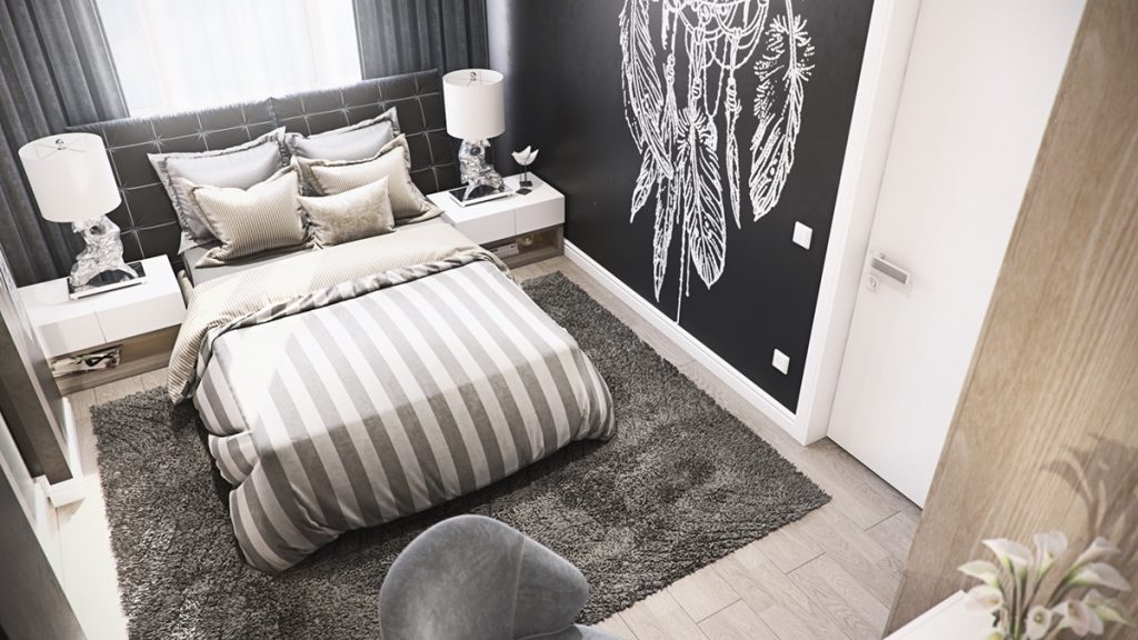 mẫu thiết kế phòng ngủ cao cấp sang trọng cho căn hộ 3 phòng ngủ.
