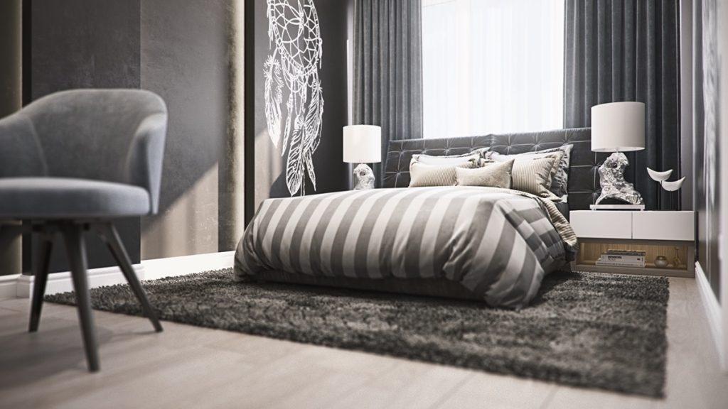 mẫu thiết kế nội thất phòng ngủ cao cấp sang trọng cho căn hộ 3 phòng ngủ.