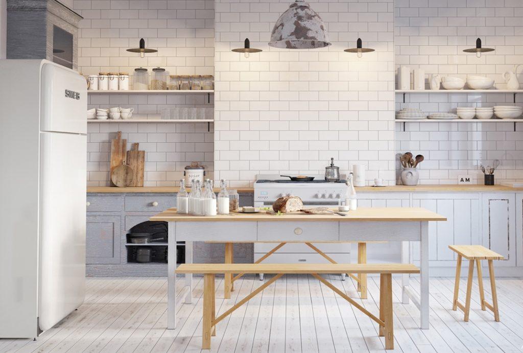 mẫu nội thất nhà bếp và phòng ăn hiện đại.