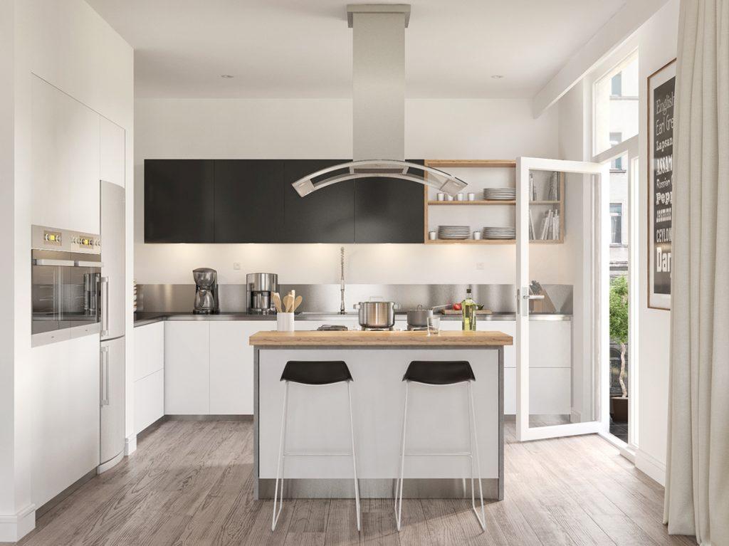 nhà bếp và phòng ăn đẹp phong cách bắc âu.