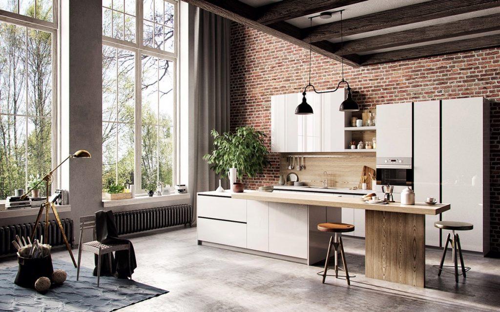 mẫu phòng ăn và nhà bếp phong cách chiết trung.