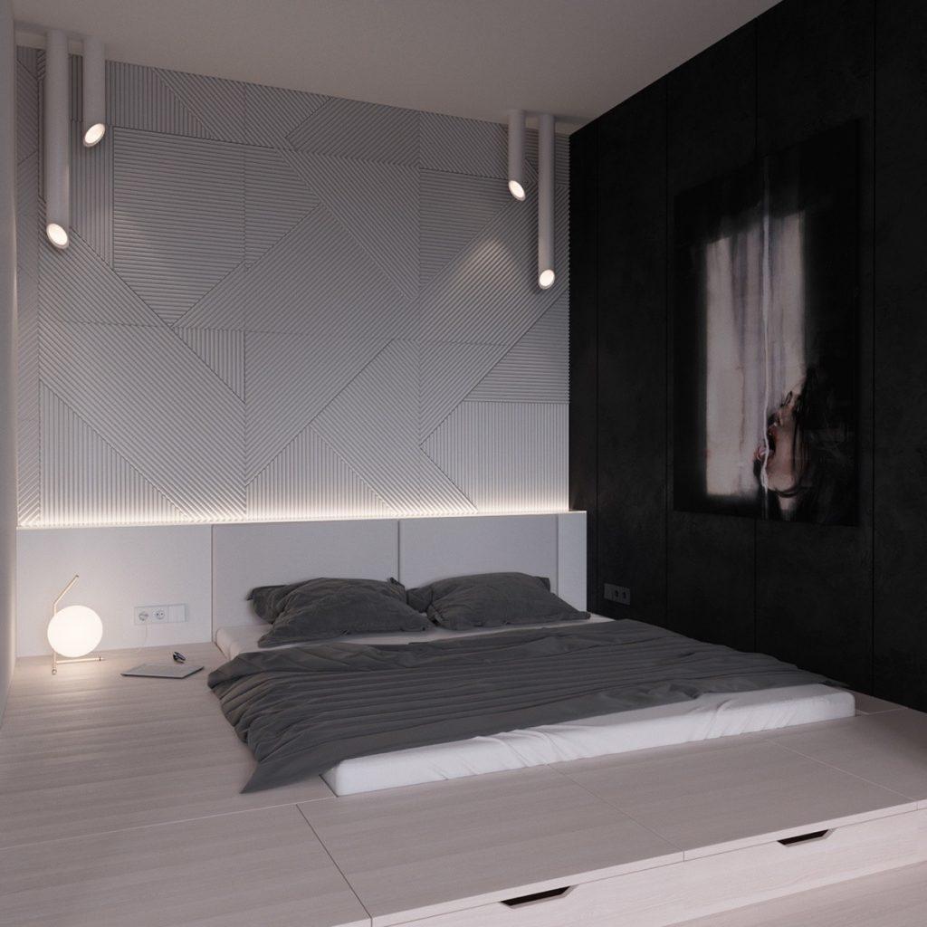 mẫu thiết kế phòng ngủ giường ngủ thấp độc đáo.