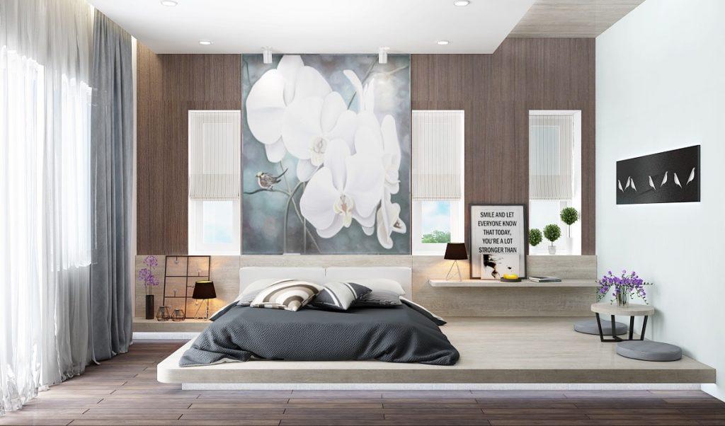 mẫu phòng ngủ giường ngủ thấp đẹp.