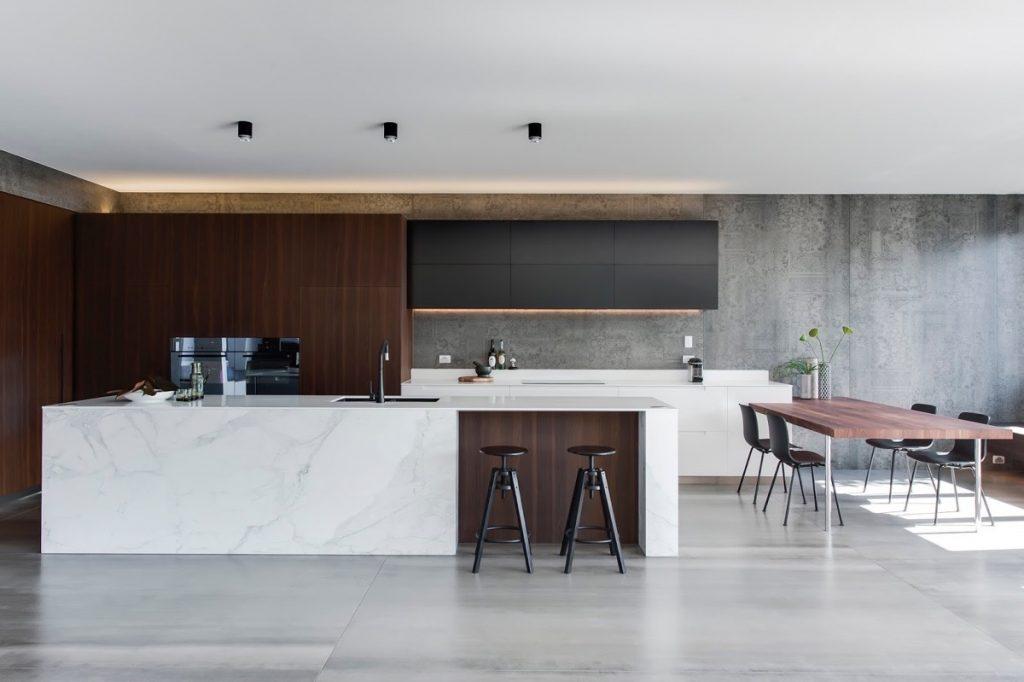 thiết kế nhà bếp đẹp với đá cẩm thạch.