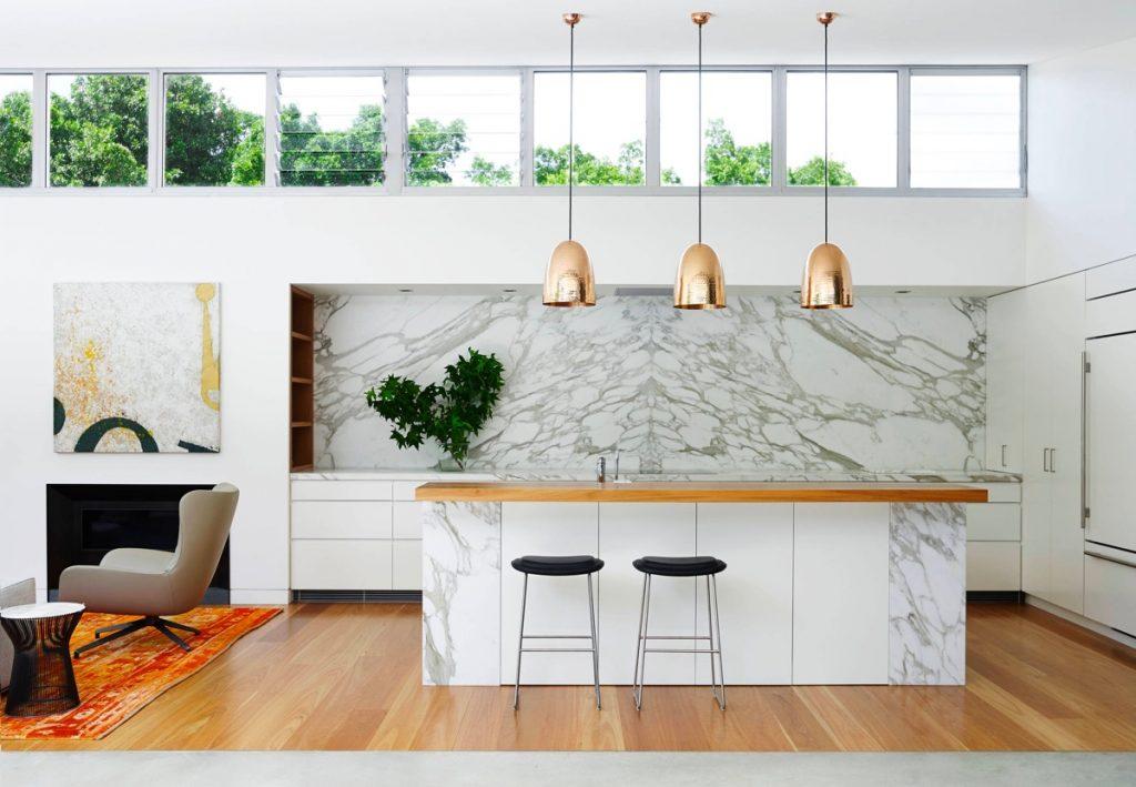 nội thất nhà bếp đẹp với đá marble.
