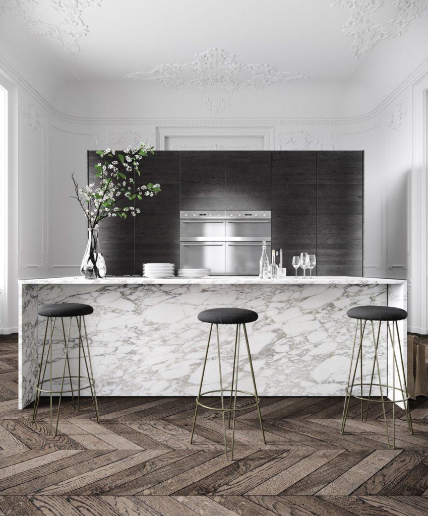 thiết kế nhà bếp đẹp với đá marble.