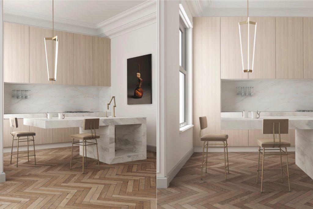nhà bếp sang trọng với đá marble cẩm thạch.