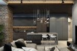 mẫu thiết kế nhà bếp đẹp kiểu dáng hình học.