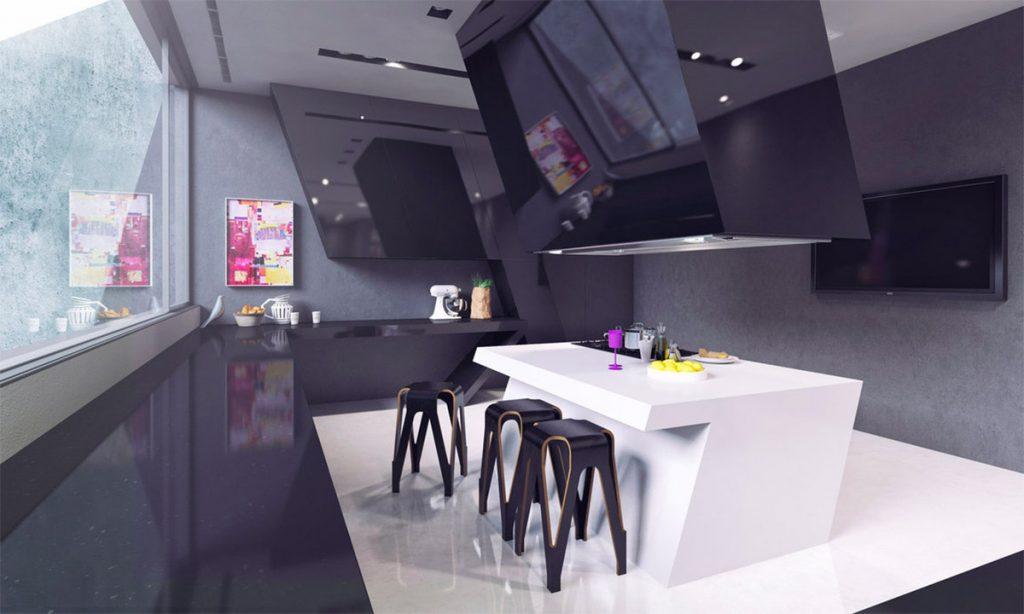 thiết kế nhà bếp kiểu dáng hình học độc đáo.