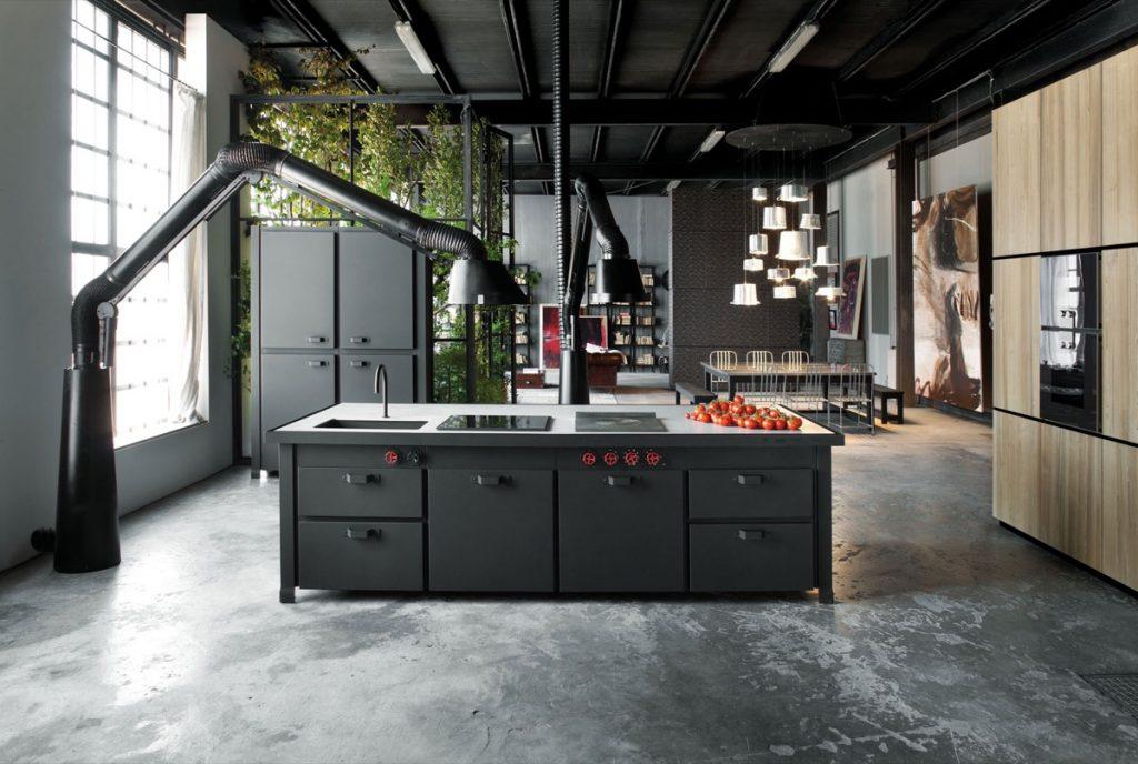 thiết kế nội thất nhà bếp phong cách công nghiệp đẹp.