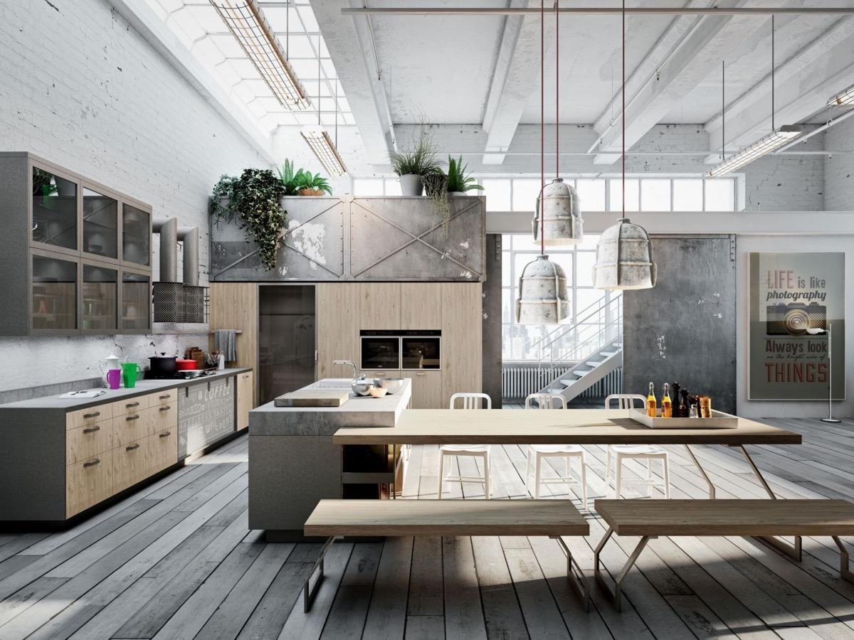 thi công nội thất nhà bếp đẹp phong cách công nghiệp.