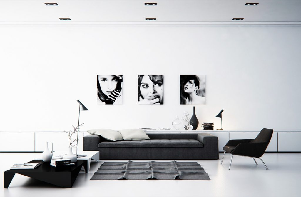 thiết kế nội thất đen trắng đẳng cấp cho phòng khách.