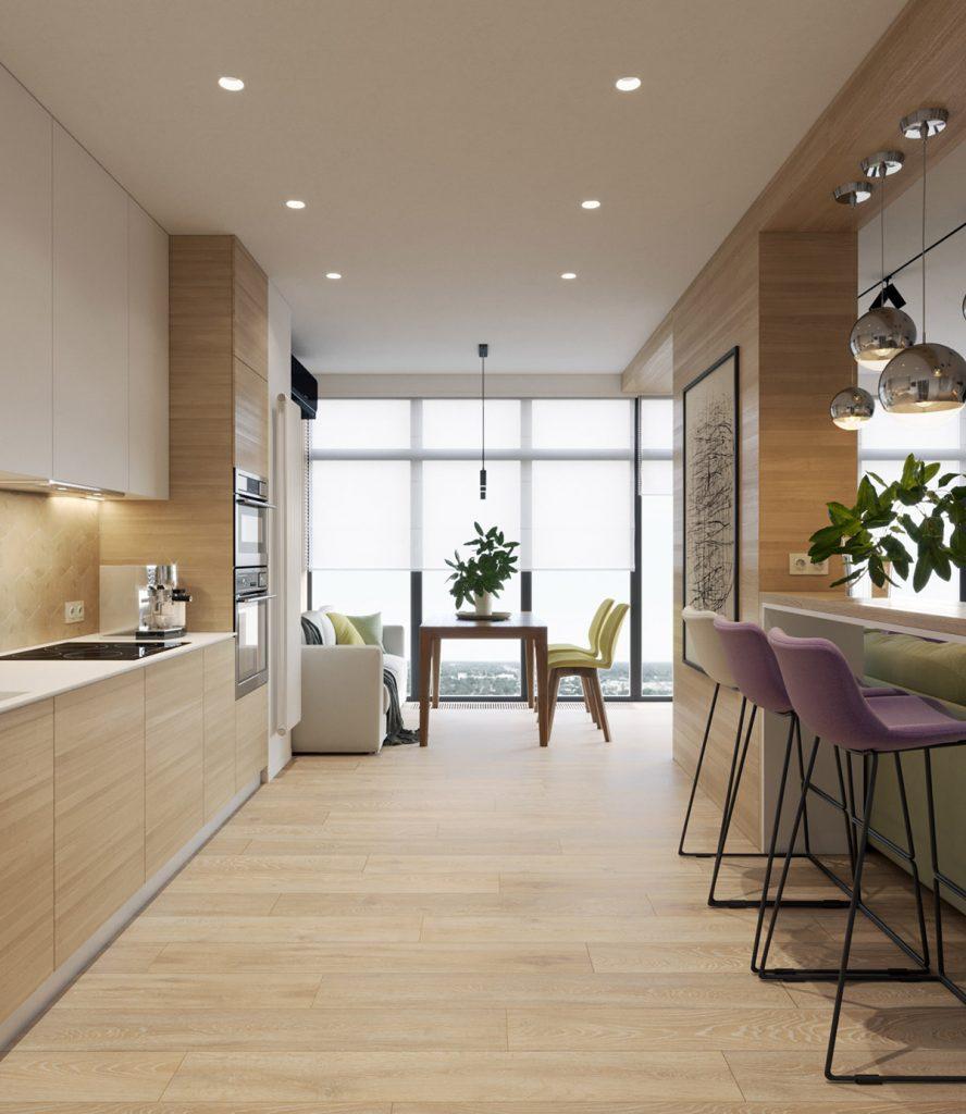 thiết kế nhà đẹp với nội thất gỗ tự nhiên và màu pastel.