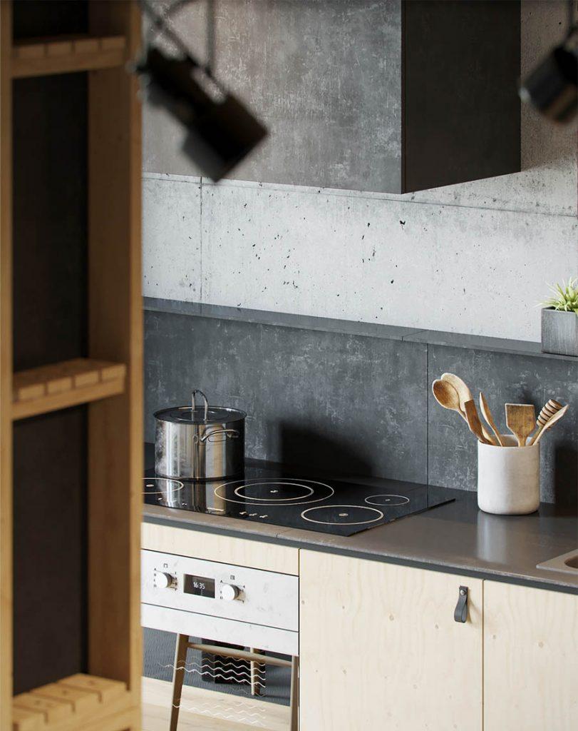 mẫu thiết kế nội thất nhà đẹp với tường bê tông và gỗ.