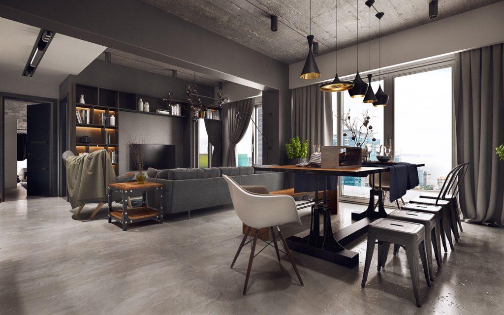 mẫu thiết kế phòng ăn nhà bếp phong cách công nghiệp đẹp.