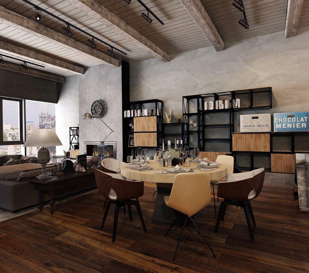 thiết kế nội thất phòng ăn phong cách công nghiệp đẹp.