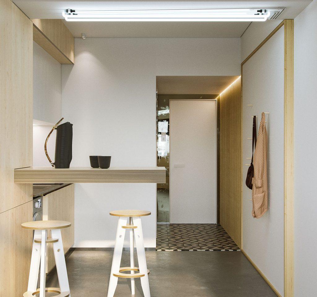 thiết kế nội thất đẹp và tiện nghi cho nhà siêu nhỏ.