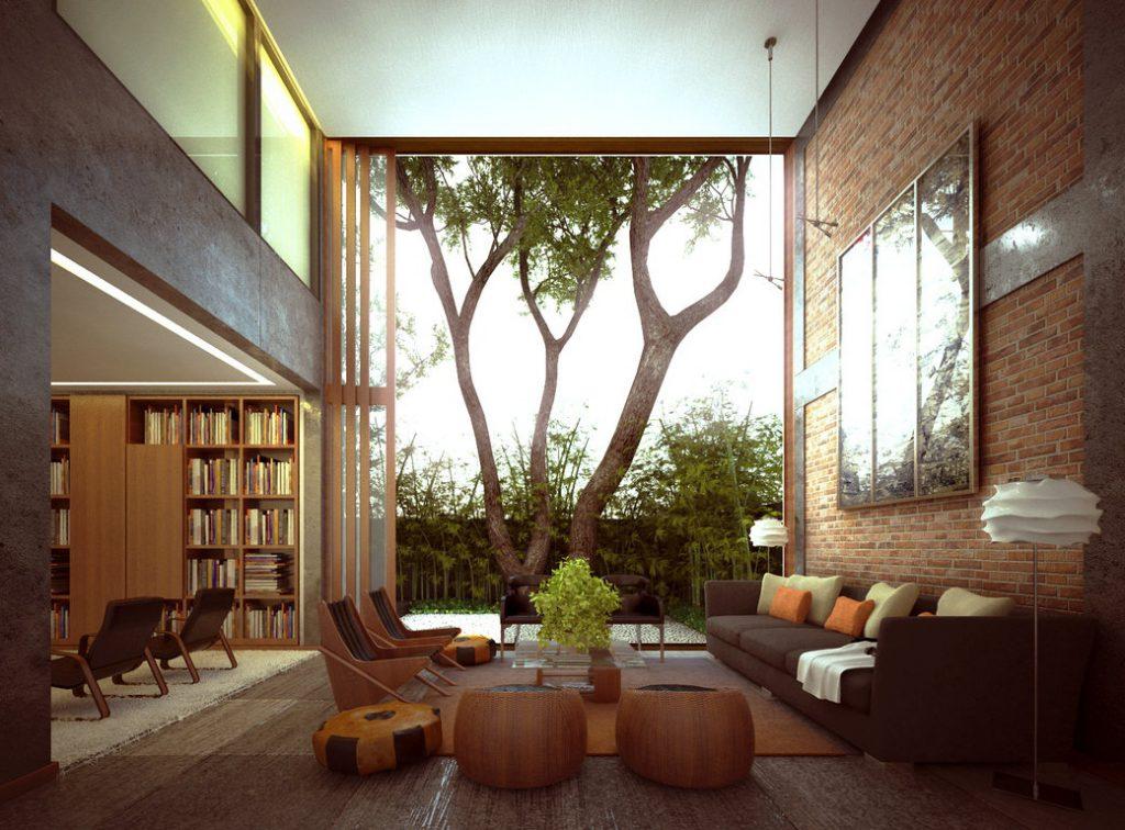 thiết kế thi công nội thất phòng khách đẹp với tường gạch trần.