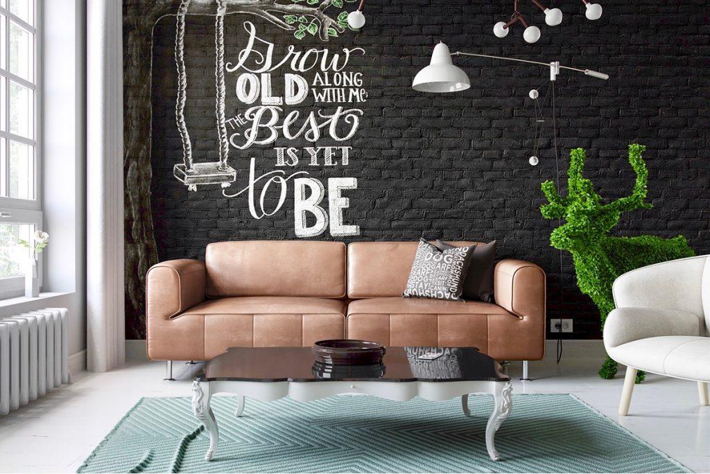 thiết kế nội thất phòng khách đẹp và sang trọng với gạch trần.