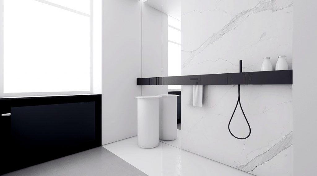 mẫu thiết kế thi công nội thất tối giản hiện đại cho phòng tắm.