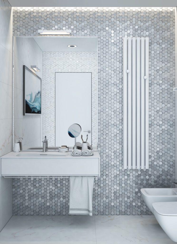 thiết kế và thi công nội thất phòng tắm tối giản