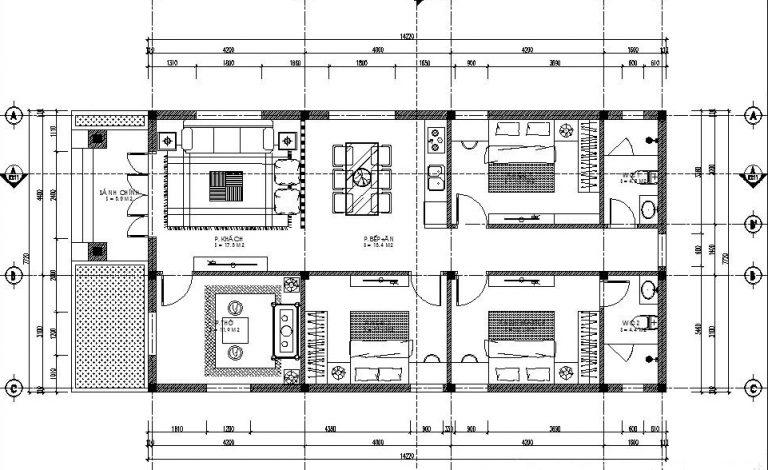 ban-ve-nha-ong-cap-4-mai-thai-3-phong-ngu-1-phong-tho Thiết kế nhà cấp 4 3 phòng ngủ 1 phòng thờ mái thái diện tích 100m2