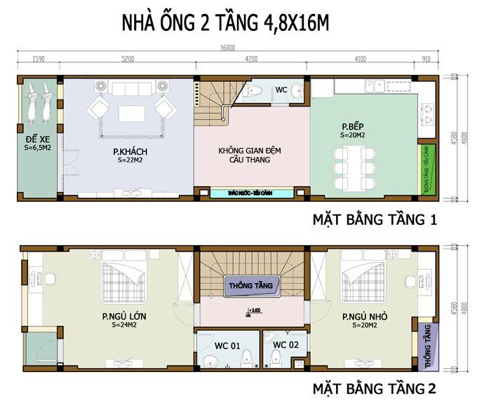 nha-ong-2-tang-co-gac-lung-dep-1 Mẫu thiết kế tòa nhà ống 2 tầng có gác lửng