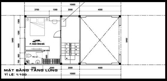 nha-ong-2-tang-co-gac-lung-dep-5 Mẫu thiết kế tòa nhà ống 2 tầng có gác lửng