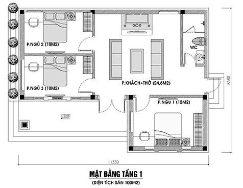 thiet-ke-nha-cap-4-3-phong-ngu-1-phong-tho-100m2 Thiết kế nhà cấp 4 3 phòng ngủ 1 phòng thờ mái thái diện tích 100m2