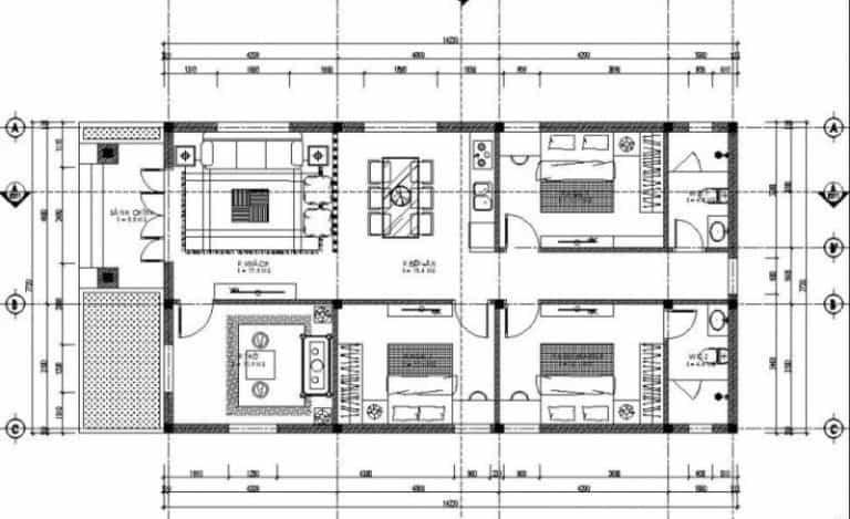 xây nhà cấp 4 diện tích 8x12m-10