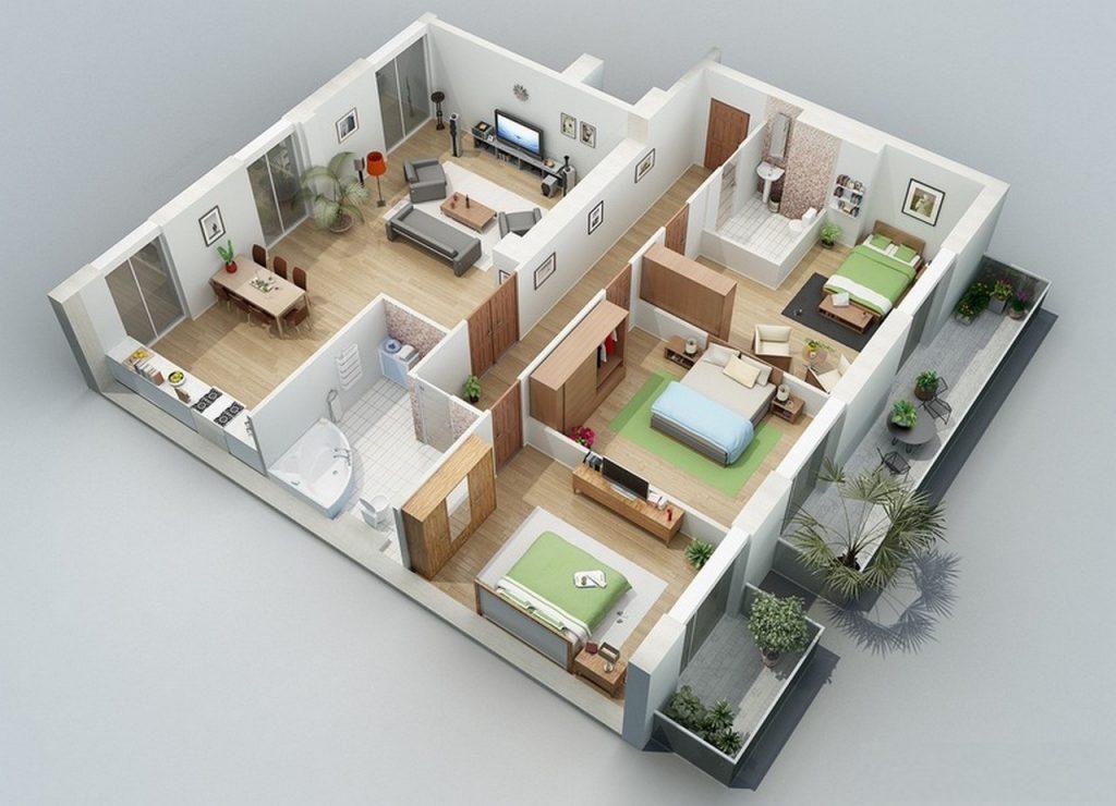 thiết kế nhà ống 1 tầng 3 phòng ngủ
