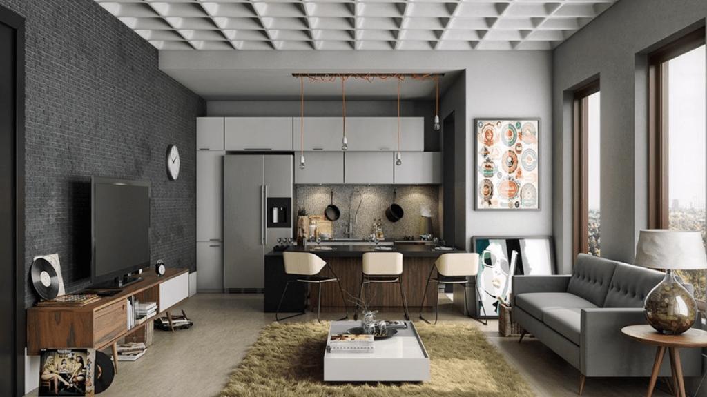thiết kế phòng khách và bếp liên thông