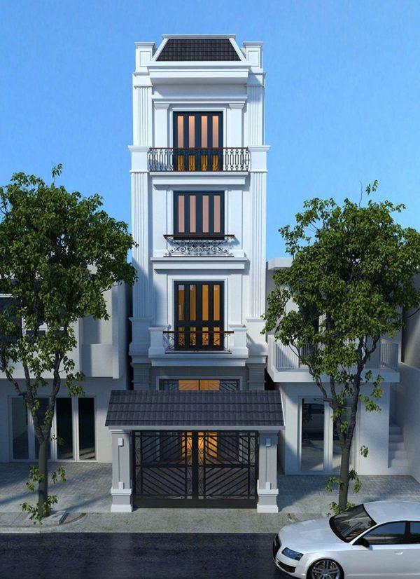 mẫu nhà 4 tầng mặt tiền 5m