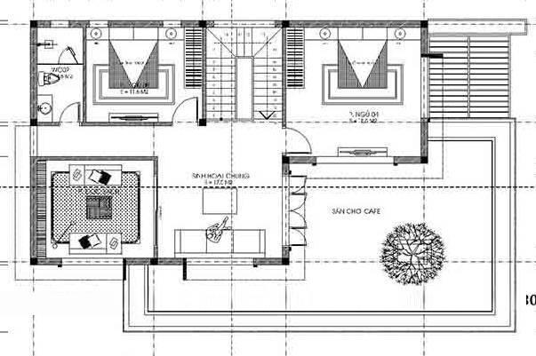 mẫu nhà 2 tầng 8x16m