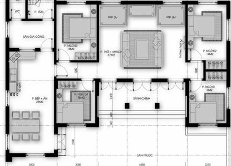 Mẫu nhà cấp 4 mái thái 4 phòng ngủ hiện đại