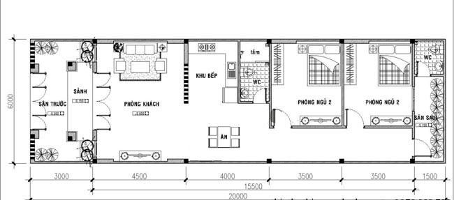 Mẫu nhà cấp 4 mái thái 5x20m