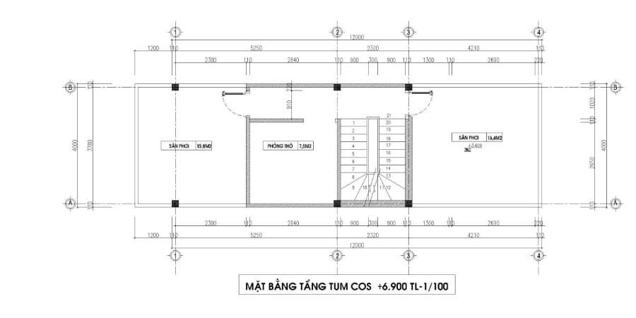 nhà ống 2 tầng 4x15m 3 phòng ngủ