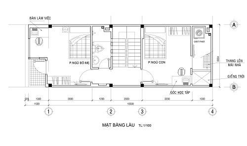 mẫu thiết kế nhà ống 2 tầng 4x12m