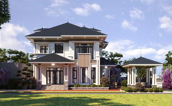 Mẫu nhà xây dựng với đường phào chỉ tinh tế, uyển chuyển. Cảnh quan sân vườn được bố trí linh hoạt, uyển chuyển