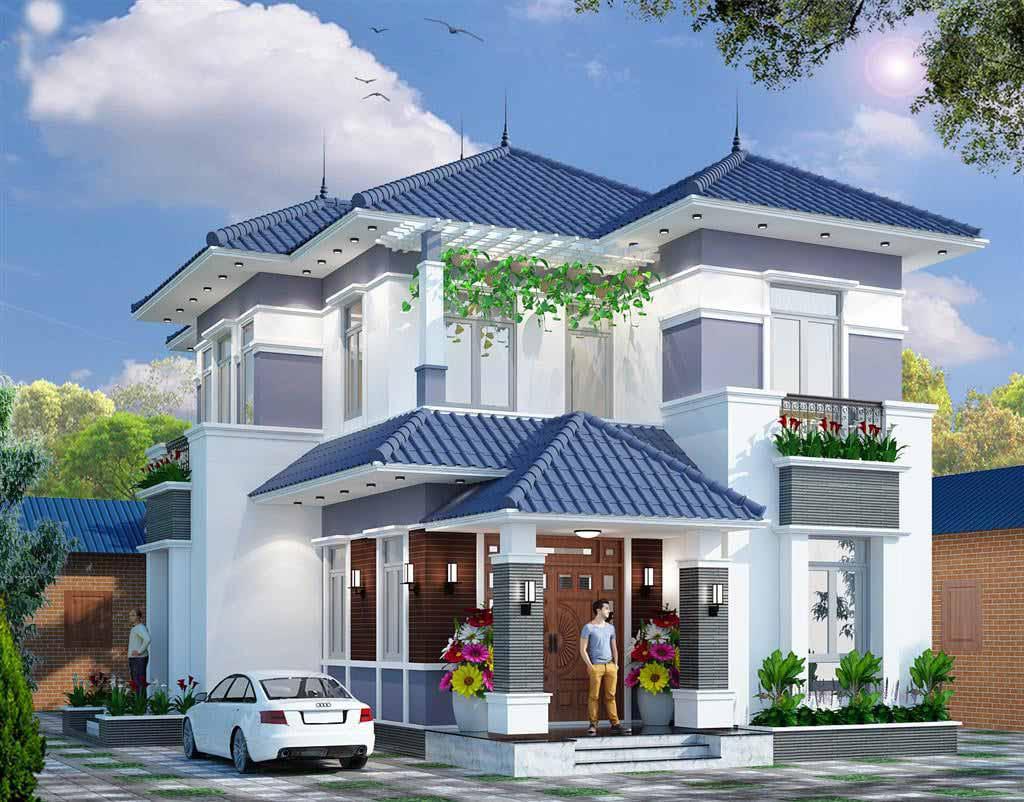 Biệt thự 2 tầng mái thái với tông màu xanh nổi bật. Phần mái dốc xuống vừa hạn chế tính trạng đọng nước mà còn cân bằng phong thủy